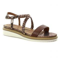 sandales-compensees marron doré: même style de chaussures en ligne pour femmes que les Tamaris