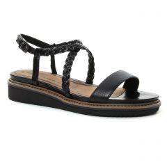 sandales-compensees noir doré: même style de chaussures en ligne pour femmes que les Tamaris