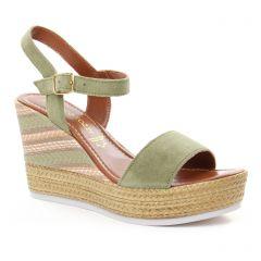 nu-pieds-talons-compenses vert orange: même style de chaussures en ligne pour femmes que les Marco Tozzi