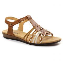 sandales marron blanc: même style de chaussures en ligne pour femmes que les Pikolinos