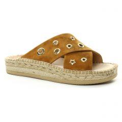 espadrilles-compensees marron doré: même style de chaussures en ligne pour femmes que les Kanna