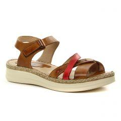Dorking D7544 Tabac : chaussures dans la même tendance femme (sandales marron rouge) et disponibles à la vente en ligne