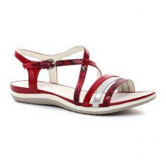 Chaussures femme été 2018 - sandales Geox rouge argent