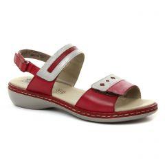 sandales rouge argent: même style de chaussures en ligne pour femmes que les Rieker
