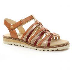 sandales marron rouge: même style de chaussures en ligne pour femmes que les Pikolinos