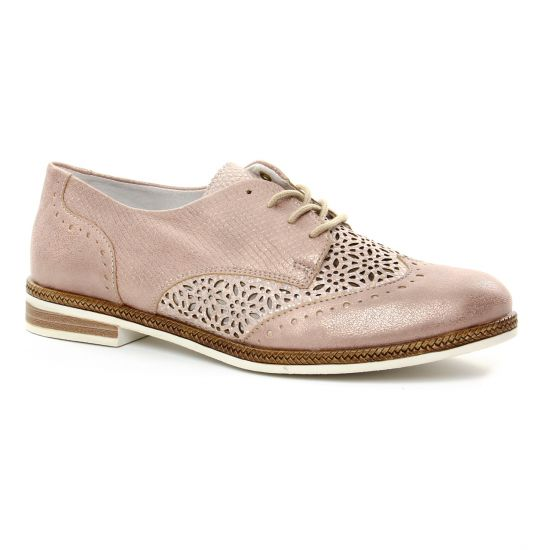 Chaussures À Lacets Remonte D2601 Rose, vue principale de la chaussure femme