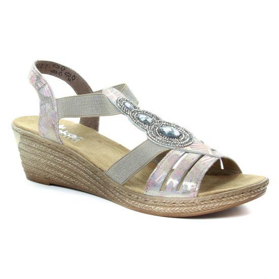 Nu Pieds Et Sandales Rieker 62459 Multicolore, vue principale de la chaussure femme