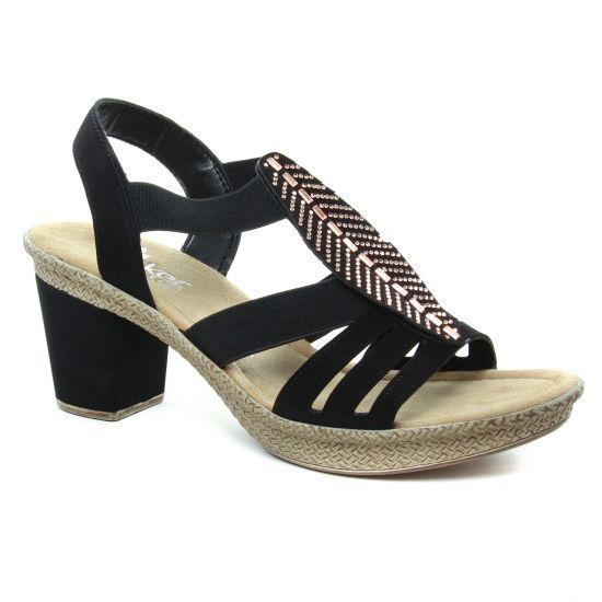 Nu Pieds Et Sandales Rieker 66526 Schwarz, vue principale de la chaussure femme