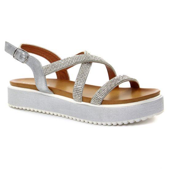 6f953cadbc4c38 Nu Pieds Et Sandales Cafe Noir Gh 911 Argent, vue principale de la chaussure  femme
