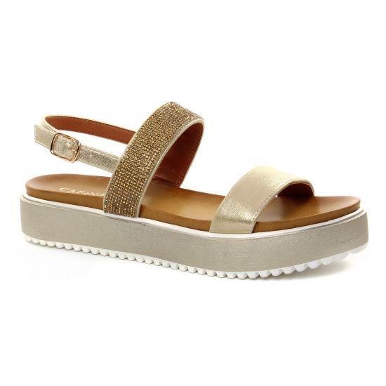 6e7885cf3bb79c Nu Pieds Et Sandales Cafe Noir Gh 907 Platine, vue principale de la chaussure  femme. sandales compensées marron doré mode femme printemps été ...