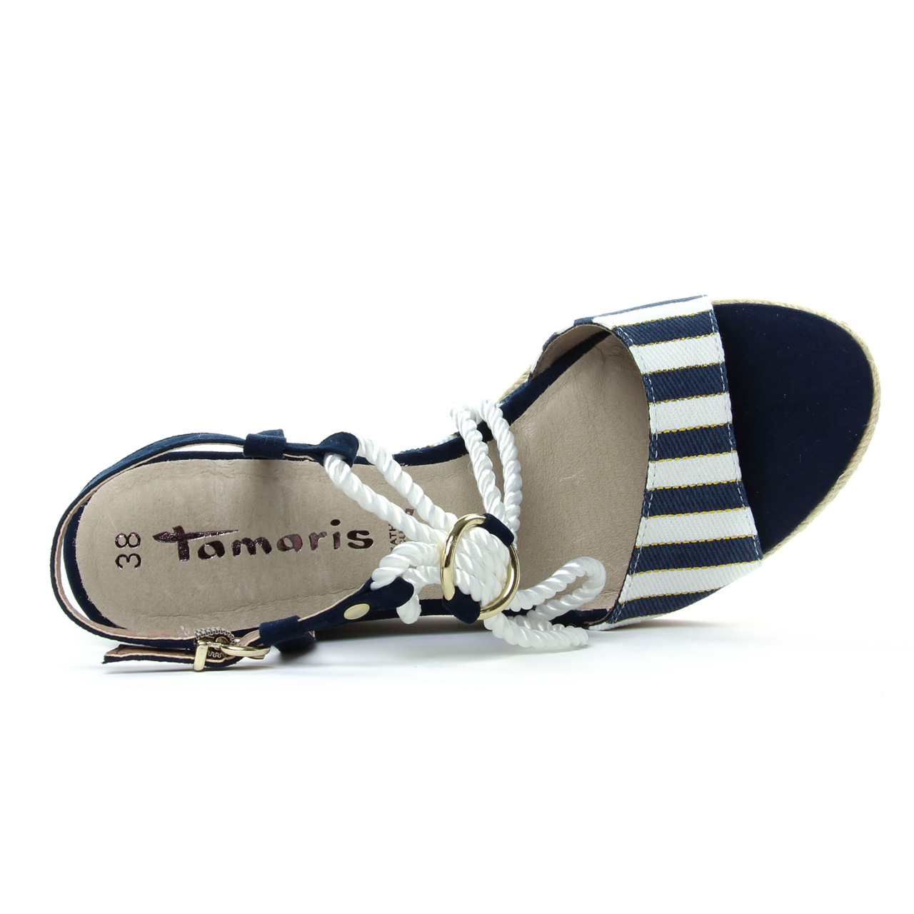 Tamaris 28344 Navy | espadrille compensées bleu marine blanc
