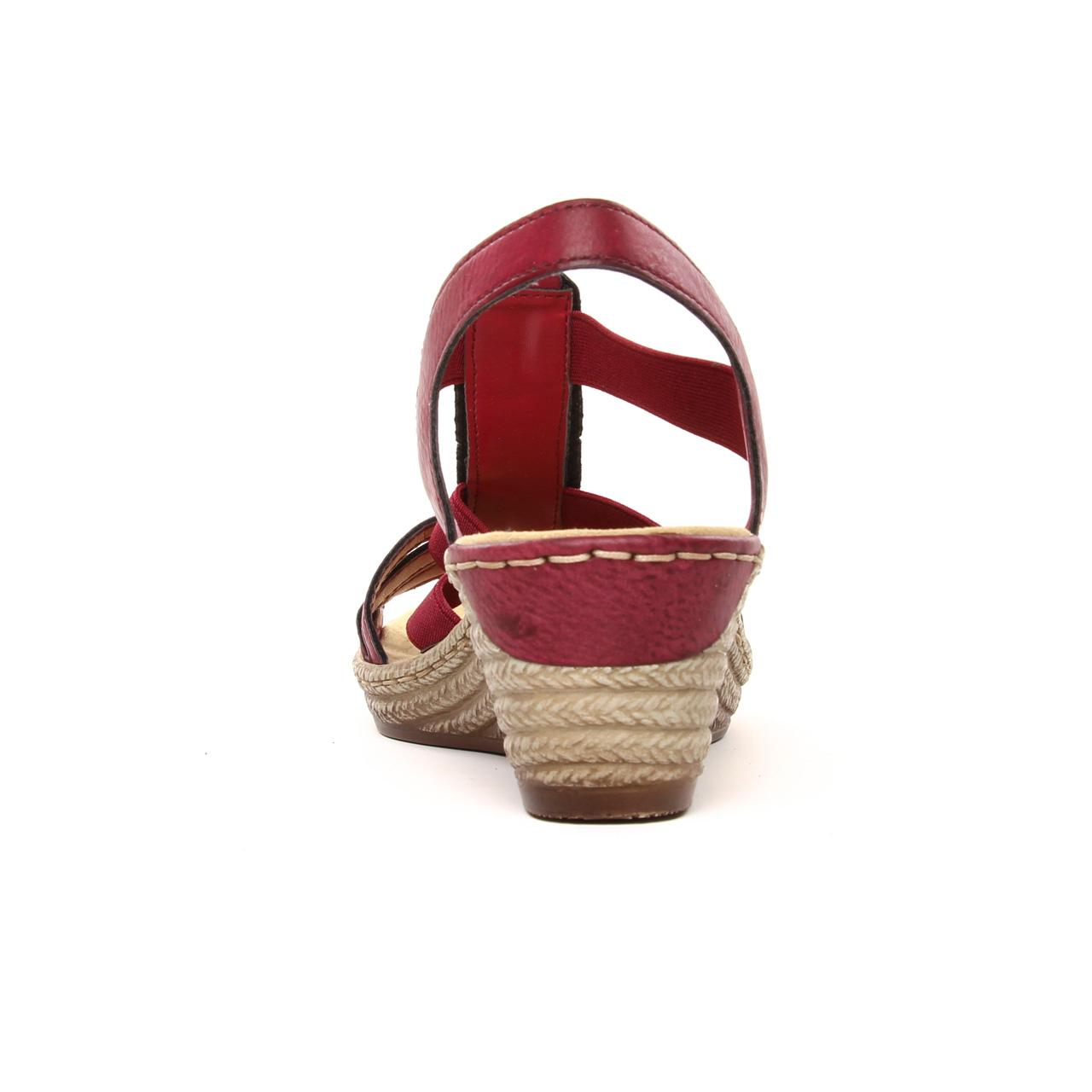Rieker 624B4 35 Wine | nu pied compensés rouge bordeaux