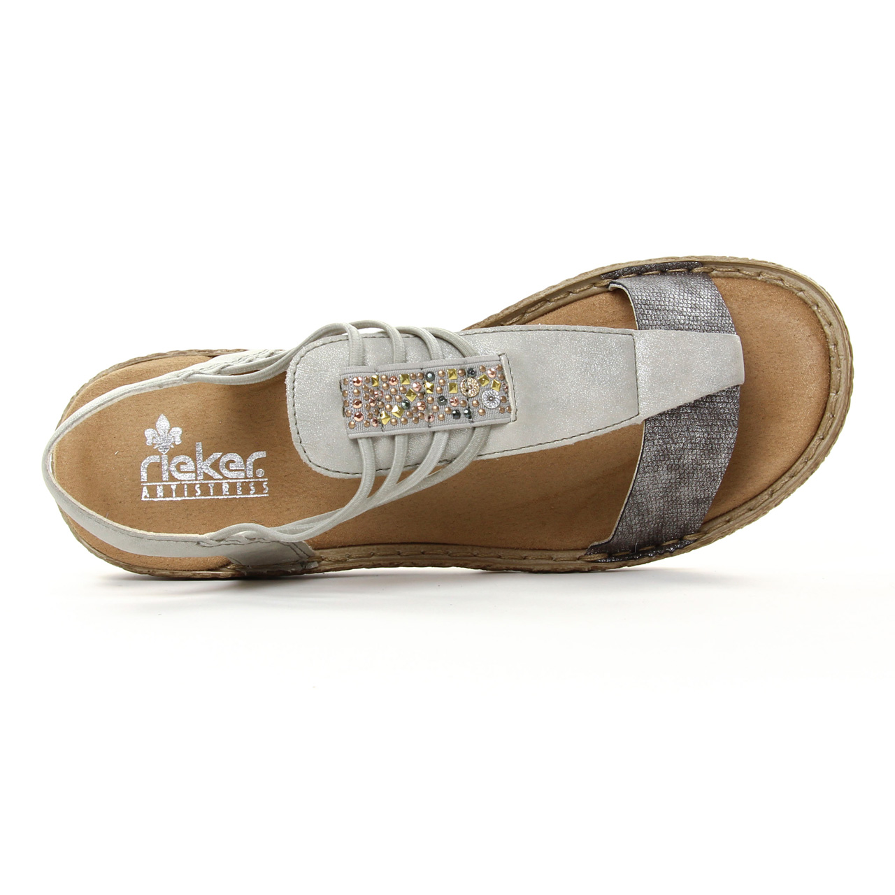Rieker 658Y3 90 Altsilber | sandales gris argent printemps