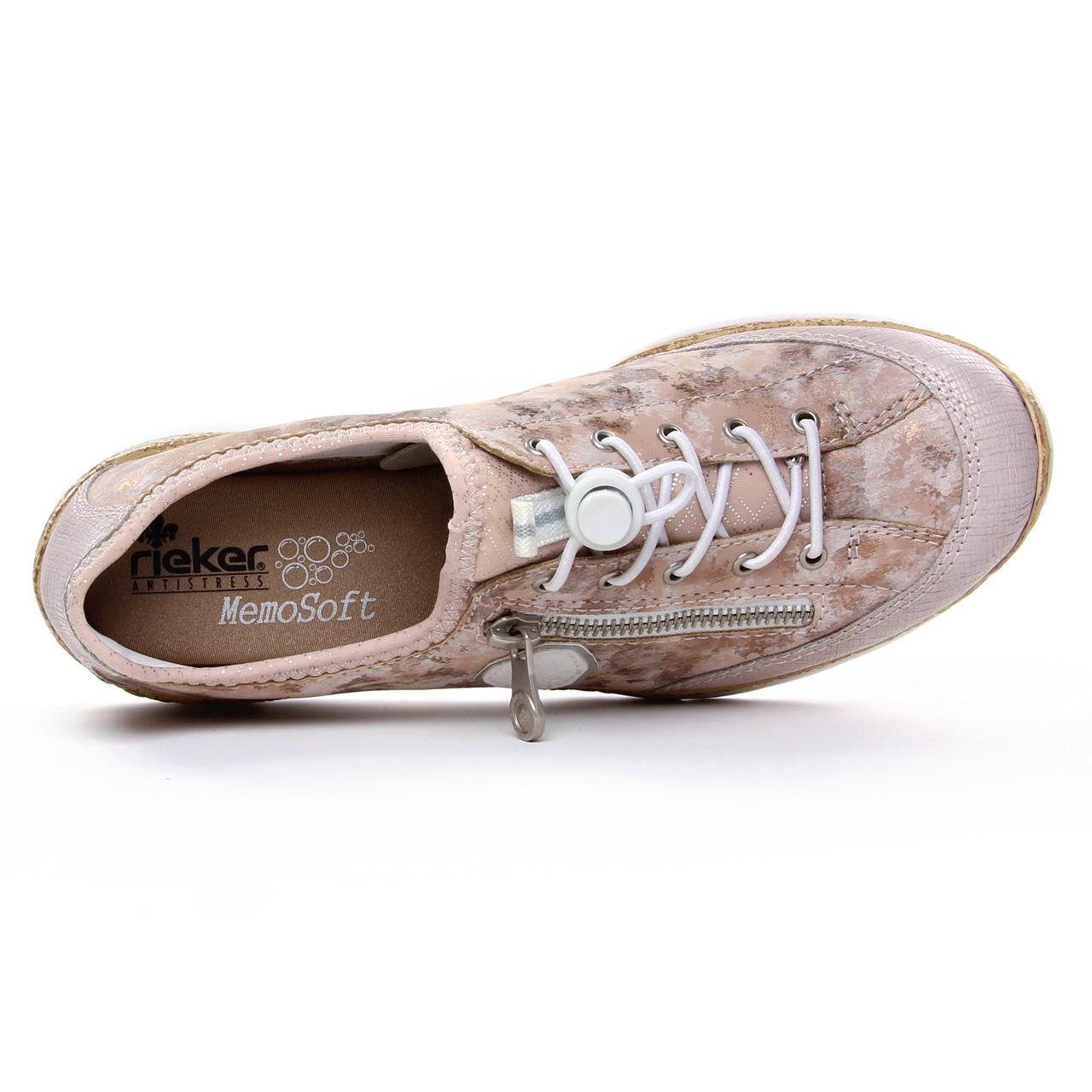Rieker 53725-32 femme à lacets mode baskets décontractées chaussures rose rose