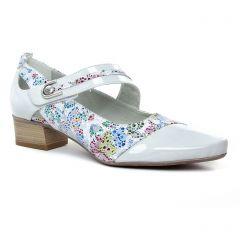 Chaussures femme été 2019 - babies talon Dorking blanc multi