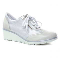 Chaussures femme été 2019 - baskets compensees Geo Reino blanc argent
