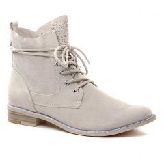 Chaussures femme été 2019 - bottines à lacets marco tozzi beige argent