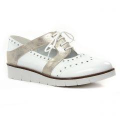 derbys-talons-compenses blanc doré: même style de chaussures en ligne pour femmes que les Geo Reino