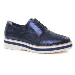 Chaussures femme été 2019 - derbys compensées tamaris bleu métal