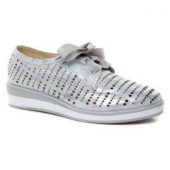Fugitive Keren Argent : chaussures dans la même tendance femme (derbys-talons-compenses gris argent) et disponibles à la vente en ligne