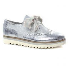 Chaussures femme été 2019 - derbys compensées marco tozzi gris argent