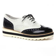 Chaussures femme été 2019 - derbys compensées tamaris noir blanc