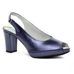 Chaussures femme été 2019 - escarpins bout ouvert Dorking bleu métal