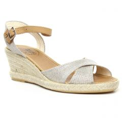 espadrilles-compensees gris argent: même style de chaussures en ligne pour femmes que les Scarlatine
