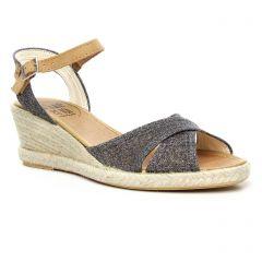 espadrilles-compensees gris noir: même style de chaussures en ligne pour femmes que les Kanna