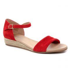 espadrilles-compensees rouge: même style de chaussures en ligne pour femmes que les Scarlatine