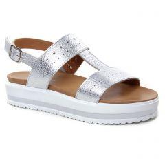 sandales-compensees gris argent: même style de chaussures en ligne pour femmes que les Les Tropéziennes