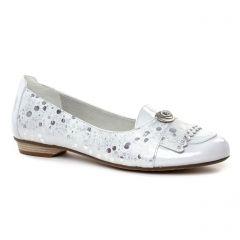Chaussures femme été 2019 - mocassins Dorking blanc argent