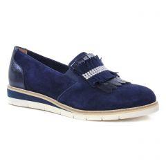 mocassins-slippers bleu velours: même style de chaussures en ligne pour femmes que les Tamaris