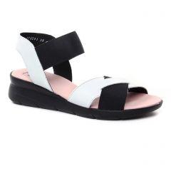 Chaussures femme été 2019 - nu-pieds compensés Hirica noir blanc