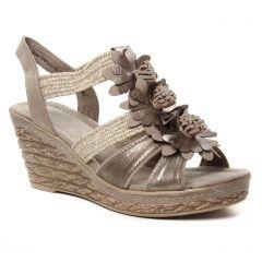 nu-pieds-talons-compenses beige bronze: même style de chaussures en ligne pour femmes que les Rieker