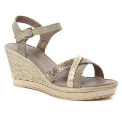 Marco Tozzi 28346 Taupe : chaussures dans la même tendance femme (nu-pieds-talons-compenses beige doré) et disponibles à la vente en ligne