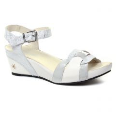 nu-pieds-talons-compenses blanc argent: même style de chaussures en ligne pour femmes que les Maria Jaén