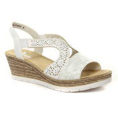 nu-pieds-talons-compenses blanc argent: même style de chaussures en ligne pour femmes que les Tamaris