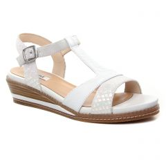 Chaussures femme été 2019 - nu-pieds compensés fugitive blanc
