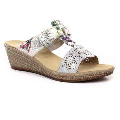 Chaussures femme été 2019 - nu-pieds compensés rieker blanc multi