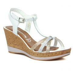 Chaussures femme été 2019 - nu-pieds compensés tamaris blanc