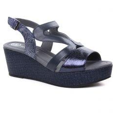 nu-pieds-talons-compenses bleu argent: même style de chaussures en ligne pour femmes que les Tamaris
