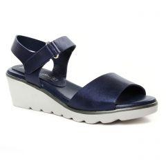 nu-pieds-talons-compenses bleu blanc: même style de chaussures en ligne pour femmes que les Tamaris