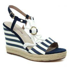 espadrilles-compensees bleu marine blanc: même style de chaussures en ligne pour femmes que les Tamaris
