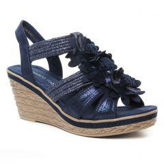 Chaussures femme été 2019 - nu-pieds compensés marco tozzi bleu marine