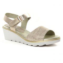 Chaussures femme été 2019 - nu-pieds compensés Maria Jaén bronze doré
