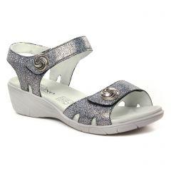 Chaussures femme été 2019 - nu-pieds compensés Geo Reino gris argent