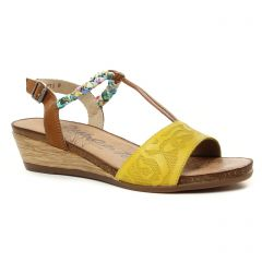 sandales-compensees jaune marron: même style de chaussures en ligne pour femmes que les Les Tropéziennes