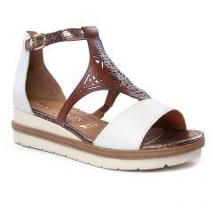 nu-pieds-talons-compenses marron blanc: même style de chaussures en ligne pour femmes que les Tamaris