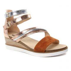nu-pieds-talons-compenses marron doré: même style de chaussures en ligne pour femmes que les Fugitive